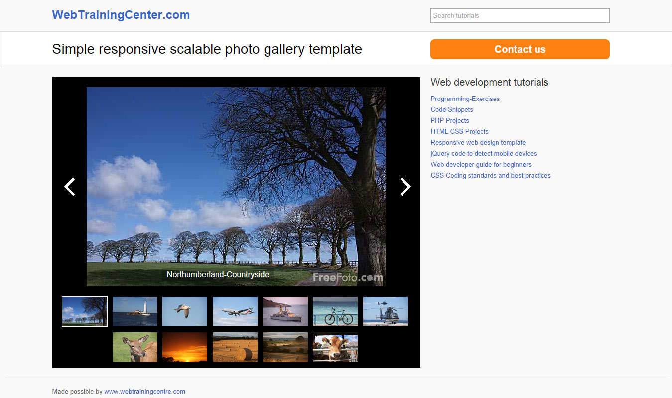 Simple Responsive Photo Gallery Template